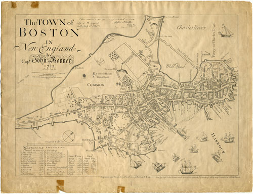 Map of Boston in 1722