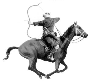 Note the archer shooting backwards and at the moment his horse has all four feet off the ground.