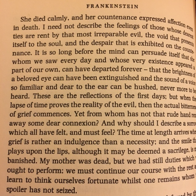 Here is what Frankenstein had to say about his mother's death in the book.